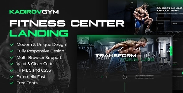 KadirovGYM - Fitness Center Landing Page Template - Health & Beauty Retail