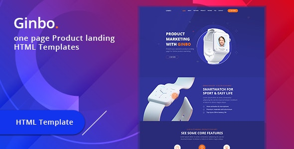 Ginbo - Product Landing Page HTML Template - Marketing Corporate