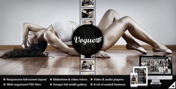 Vogue PSD — Responsive Fullscreen Photo Template - Photography Creative