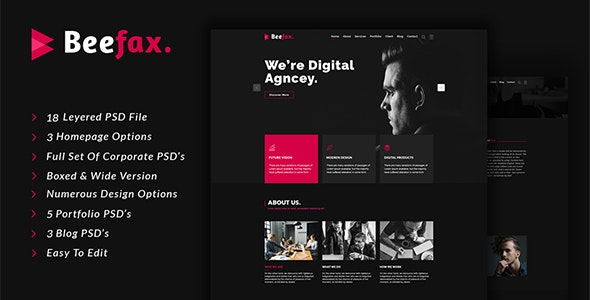 Beefax - Digital Services Agency PSD Template - Business Corporate