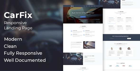 CarFix - Responsive Auto Service Landing Page Template - Landing Pages Marketing