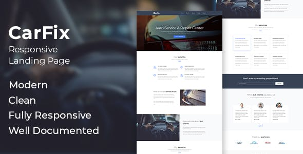 CarFix - Responsive Auto Service Landing Page Template