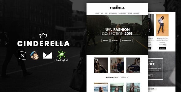 Cinderella - E-commerce Responsive Email Template with MailChimp Editor, StampReady & Online Builder - Newsletters Email Templates