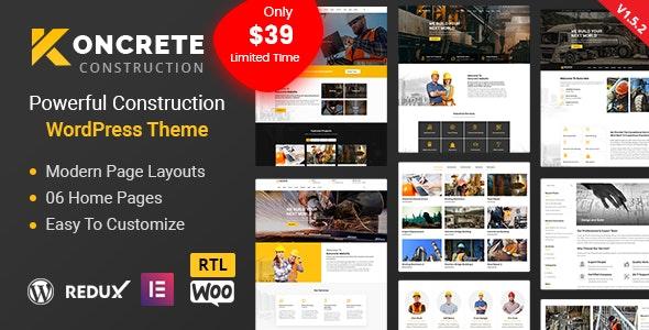 Koncrete - Construction Building WordPress Theme - Business Corporate
