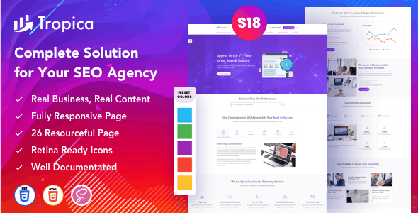 Tropica – Creative Agency Bootstrap Template - Technology Site Templates