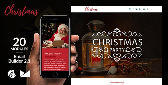 Christmas Email Template + Online Emailbuilder 2.1 - Newsletters Email Templates