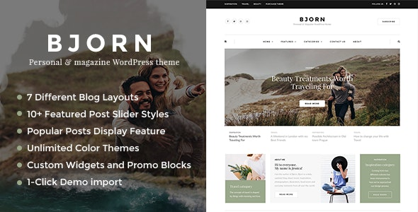 Bjorn - Responsive WordPress Personal Blog Theme - Personal Blog / Magazine