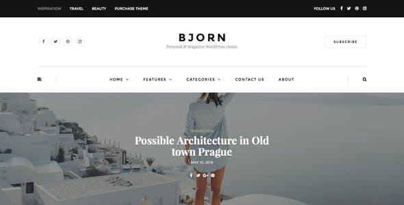 Bjorn - Responsive WordPress Personal Blog Theme