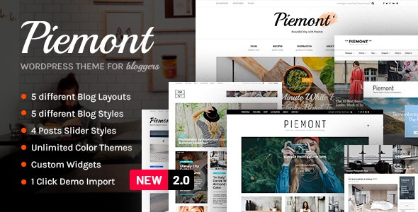 Piemont - Premium Travel & Lifestyle Responsive WordPress Blog Theme - Personal Blog / Magazine