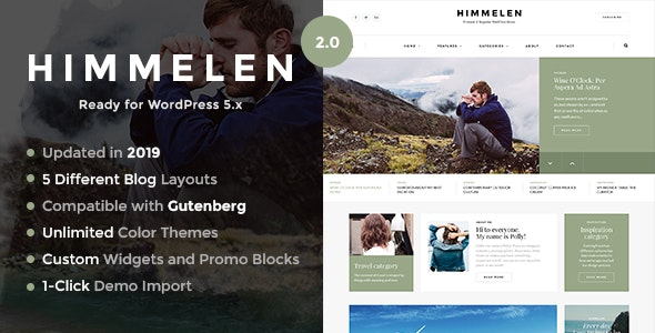Himmelen - Personal Minimal WordPress Blog Theme - Personal Blog / Magazine