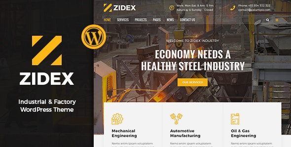 Zidex - Industrial & Factory WordPress Theme - Business Corporate