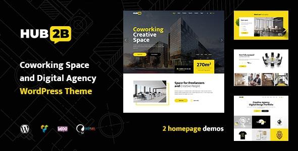 Hub2B - Coworking Space and Digital Agency WordPress Theme - Business Corporate