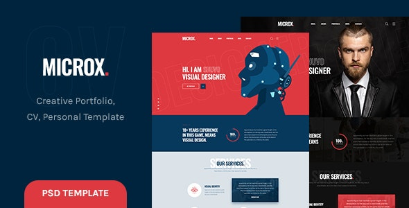 Microx - CV Resume and Personal Portfolio PSD Template - Portfolio Creative
