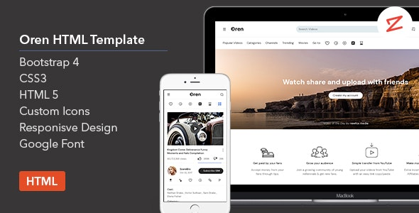 Oren - A Video Sharing HTML Template - Entertainment Site Templates