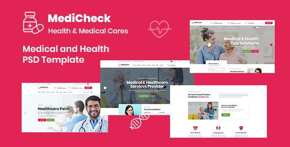 Medicheck - Modern Medical PSD Template - Health & Beauty Retail