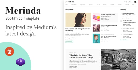 Merinda - HTML Template inspired by Medium - Site Templates