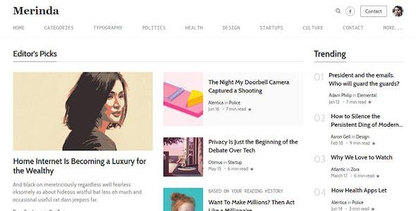 Merinda - HTML Template inspired by Medium
