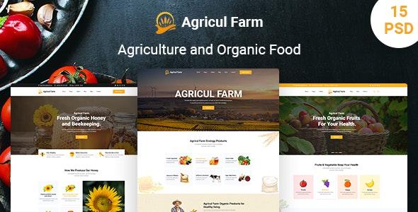 AgriculFarm - Agriculture & Organic Food PSD Template - Food Retail