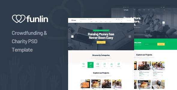 Funlin - Crowdfunding & Charity PSD Template