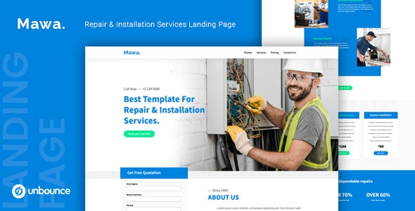 Mawa — Repair and Installation Services Unbounce Template - Unbounce Landing Pages Marketing