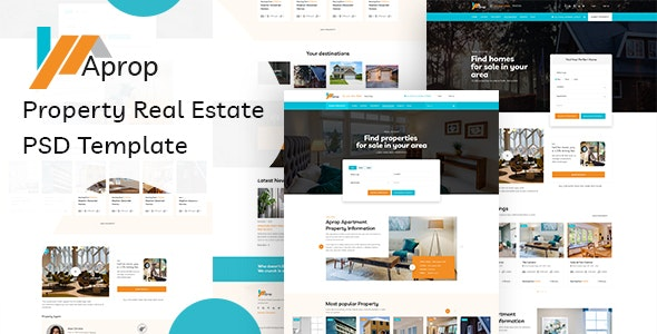 Aprop - Property Listing  Real Estate PSD Template - Corporate Photoshop