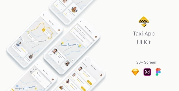 Yunu - Taxi App UI Kit - Sketch UI Templates