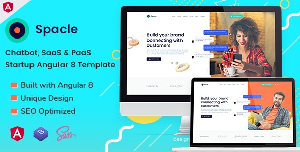 Spacle - Angular 8 Chatbot & SaaS Startup Template - Technology Site Templates