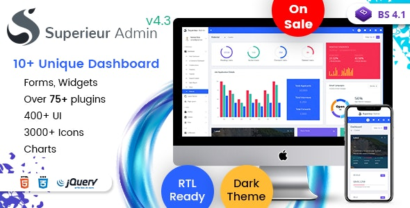 Superieur - Responsive Bootstrap 4 Admin Template Dashboard Web App - Admin Templates Site Templates