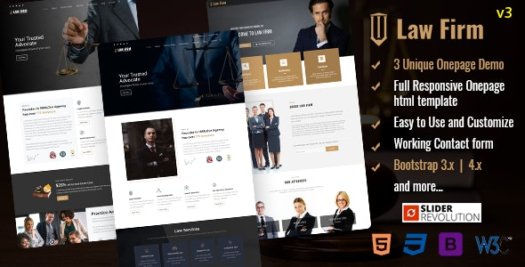 Responsive Law Firm Website Template - Business Corporate
