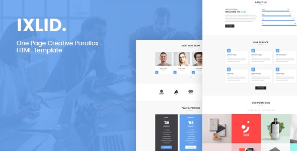 Ixlid - One Page Creative Parallax HTML Template - Creative Site Templates