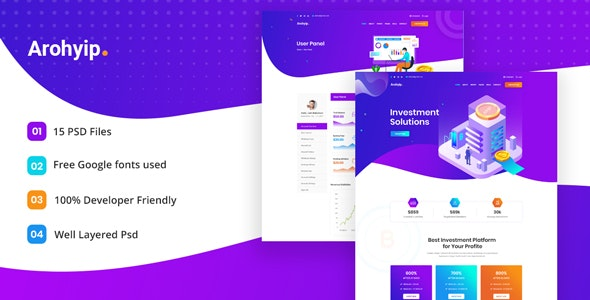 Arohyip - HYIP Investment Business PSD Template - Business Corporate