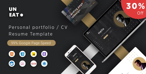 Uneat - Personal Portfolio / CV / Resume / vCard Template - Personal Site Templates