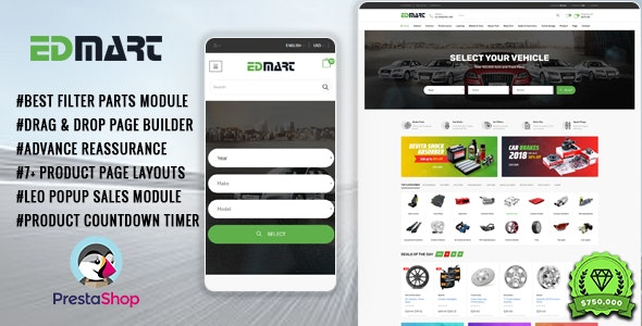 Edmart - Auto Parts &  Cars Store Prestashop Theme - PrestaShop eCommerce