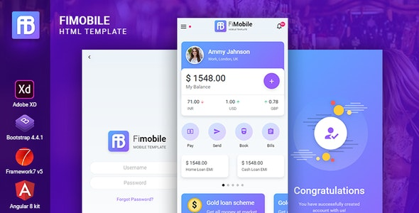 Fimobile Multipurpose HTML Template Bootstrap Framework 7 Angular Starter - Mobile Site Templates