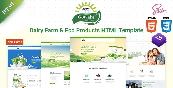 Gowala- Dairy Farm & Eco Products HTML Template - Food Retail