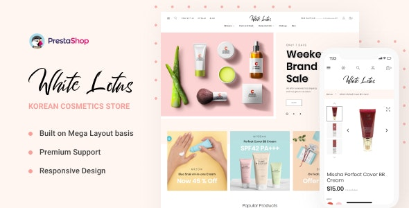 WhiteLotus - Korean Cosmetics PrestaShop Theme - Health & Beauty PrestaShop