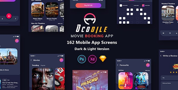 Ocodile - Movie Booking Mobile App UI - Sketch Templates