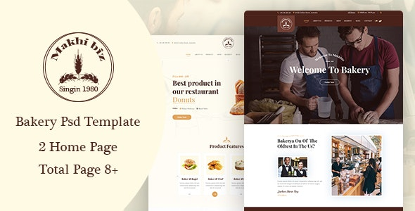 Makhbiz - Bakery, Cake and Pastry Shop PSD Template - Food Retail