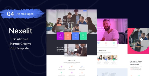Nexelit - It Solution & Startup Business PSD Template - Business Corporate
