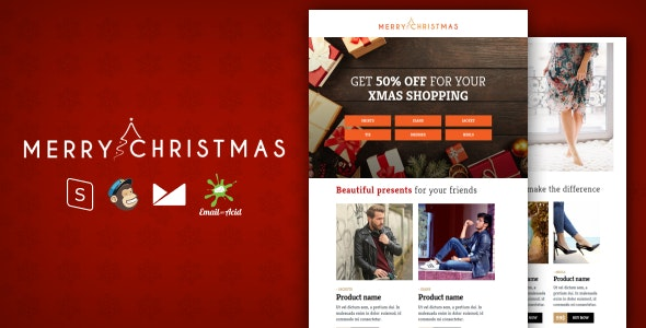 XMAS - E-commerce Responsive Email Template with MailChimp Editor, StampReady & Online Builder - Newsletters Email Templates
