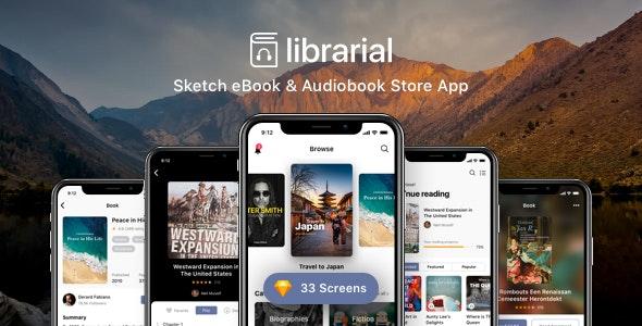 Librarial - Sketch eBook & Audiobook Store App - Sketch Templates