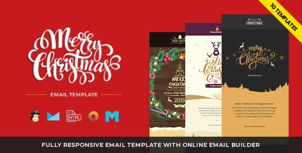 Christmas and New Year Responsive Email Template with Builder - Newsletters Email Templates
