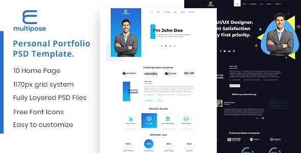 Multipose - Personal Portfolio Landing Page PSD Template by