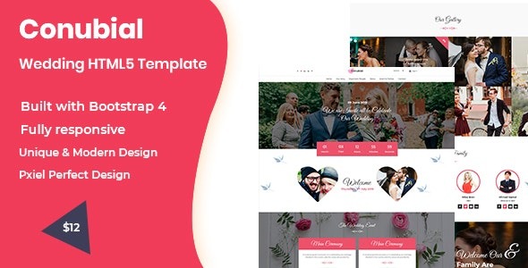 Conubial HTML5 Wedding Template - Wedding Site Templates