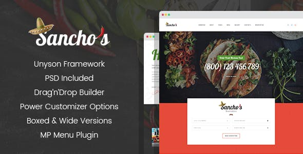 Sancho's - Mexican Restaurant WordPress Theme
