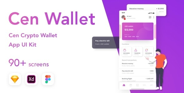 Cen - Bank and Wallet Mobile UI Kit for Finance - Sketch UI Templates