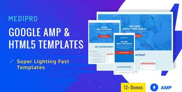 Medipro - Medical AMP and HTML Landing Page