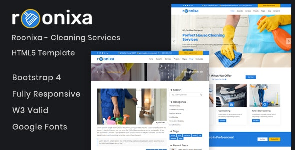 Roonixa - Cleaning Services HTML5 Template - Business Corporate