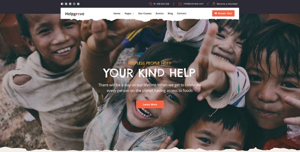 Helpgrove - PSD Template for Charity