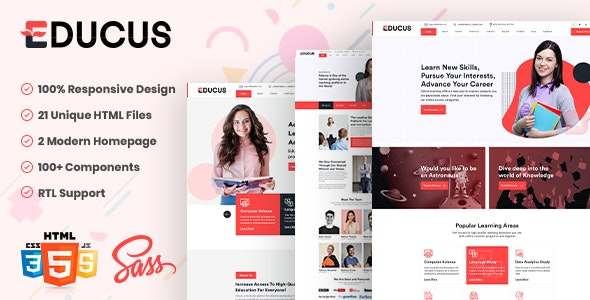 Educus - HTML5 Template for Education and LMS With RTL Support - Corporate Site Templates